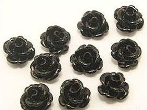 Resin Röschen ca. 8 x 7mm #10 schwarz