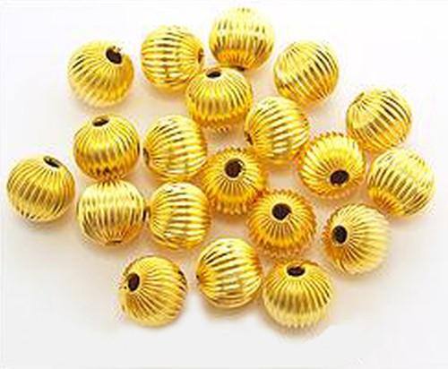 Metallperlen geriffelt goldfarben 10 mm