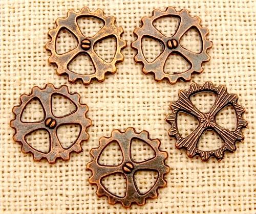 Steampunk Zahnrad Cross ca. 14x1,5mm kupferfarben