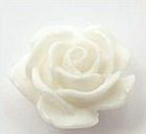 Resin Röschen ca. 15 x 10mm weiß