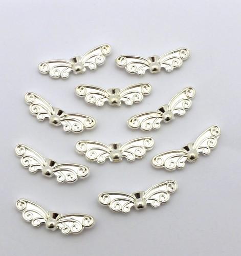Schmetterlingsflügel ca. 21 x 7mm hellsilberfarben