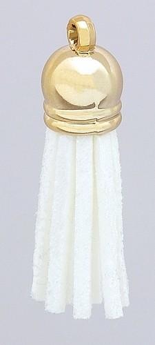 Quaste klein aus Veloursband ca 37 x 10mm weiss 1Stk