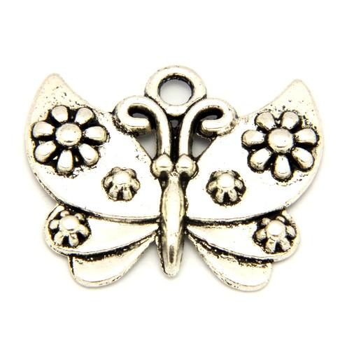 Metallanhänger Schmetterling ca. 21 x 25mm silberfarben