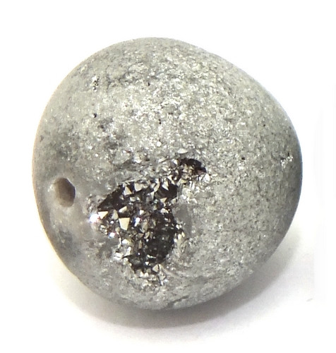 Drusen-Perle ca. 12mm silbergrau