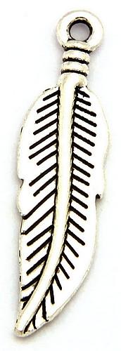 Metallanhänger Feder altsilberfarben ca. 30 x 8mm 1Stk