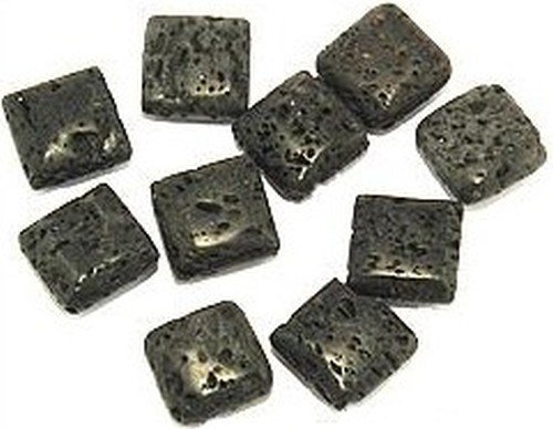 Lava-Quadrate diagonal gebohrt ca. 15x15mm 10Stk