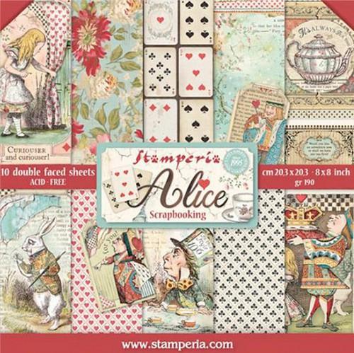 Stamperia Papierset Alice 20,3 x 20,3 cm