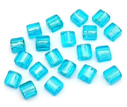 Silverfoil-Quadrate aquahell ca. 10x10x5mm 20Stk