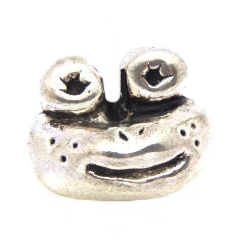Froschkönig Kopf ca. 13 x 16,5 x 10mm altsilberfarben 1Stk
