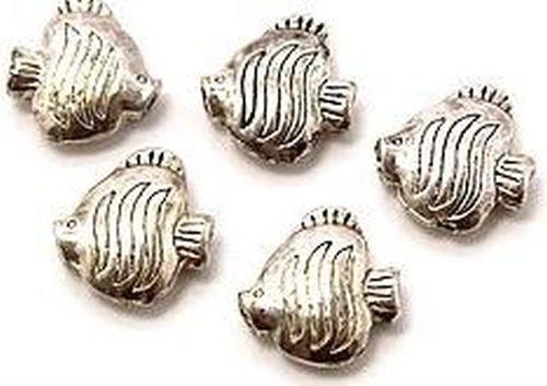 Metallperlen Flunder ca. 17x17mm altsilberfarben