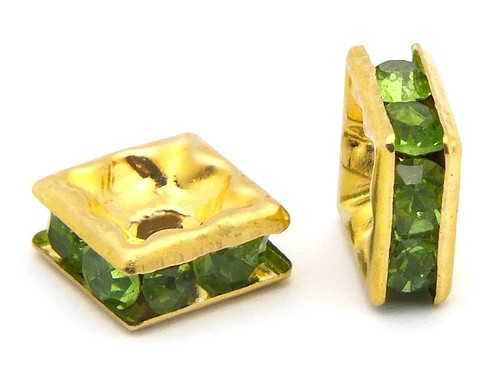 Strassquadrate ca. 6mm goldfarben-grün