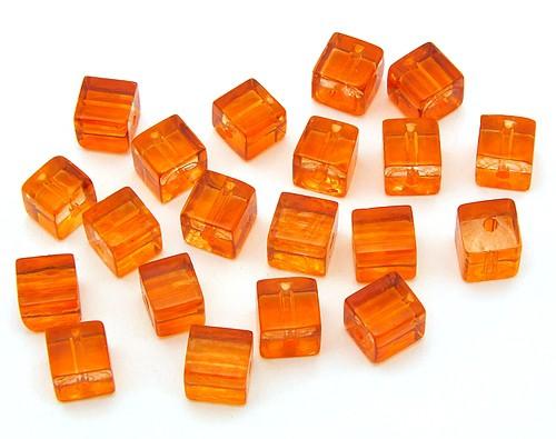 Glaswürfel ca. 6 x 6mm orange 20Stk
