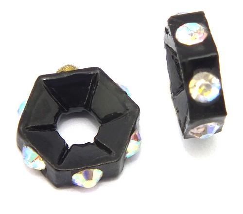 Strassrondelle black enamel crystal AB ca. 7,6 mm 10Stk