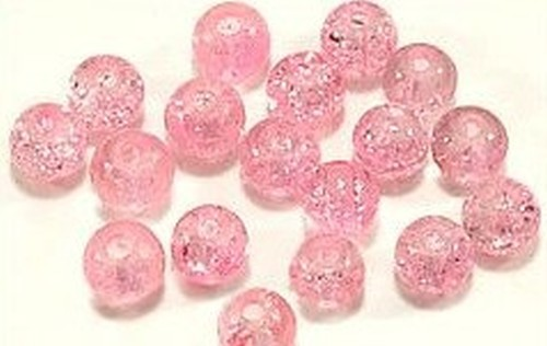 Glasperlen Crackled Pink 12mm