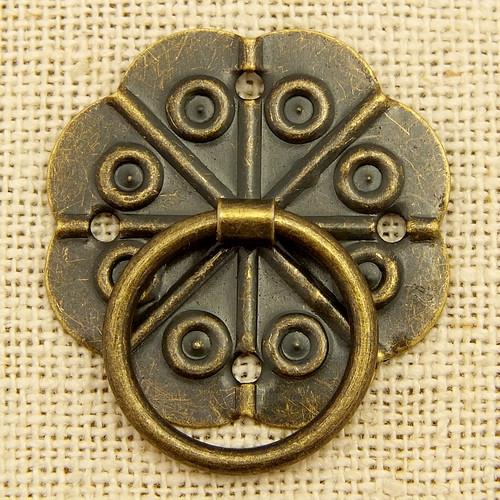 Vintage Ring Verschluss GROSS mit Mini-Brads ca. 29mm antikfarben 1Stk