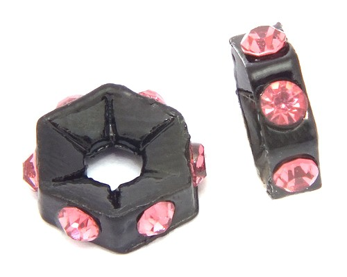 Strassrondelle black enamel rose ca. 7,6 mm