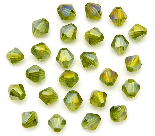 Bicone Glasschliffperlen ca. 6mm olive AB
