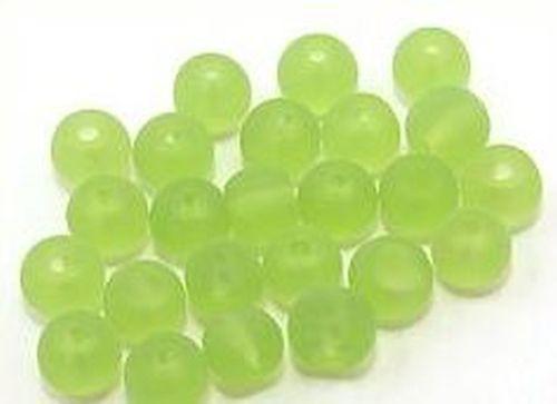 Glasperlen gefrostet, ca. 6mm, #23 grün 25Stk