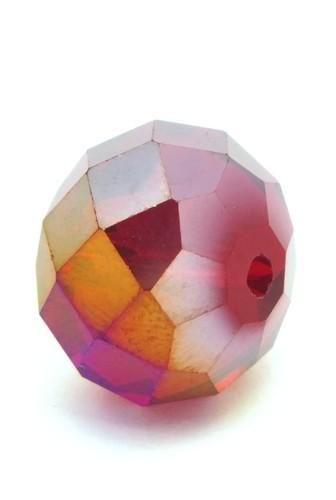 Glasschliff-Rondell ca. 12 x 16mm rot AB GROSS