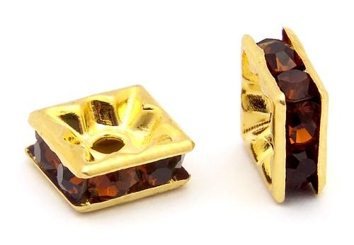 Strassquadrate ca. 6mm goldfarben-braun