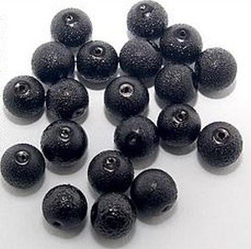 Glas-Kreppperlen ca. 10mm schwarz 20Stk