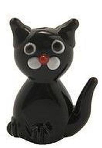 Lampwork Katze ca. 21 bis ca. 24mm hoch schwarz
