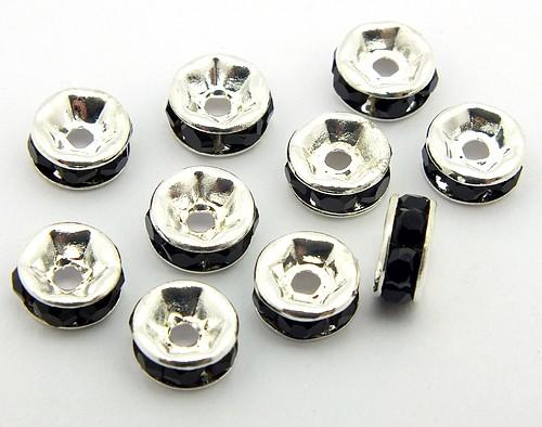 Strassrondelle ca. 6mm schwarz