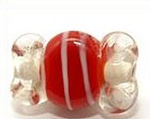 Lampworkperle Bonbon ca. 21x13x6mm rot-weiß