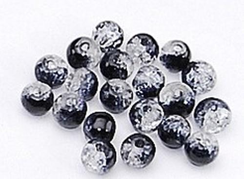 Glasperlen Crackled schwarz-grau #7 (B2-2) 6mm