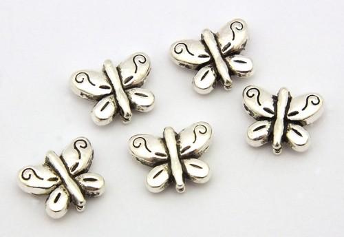 Metallperlen Schmetterling ca. 10,5 x 8 x 3,5mm altsilberfarben 5Stk