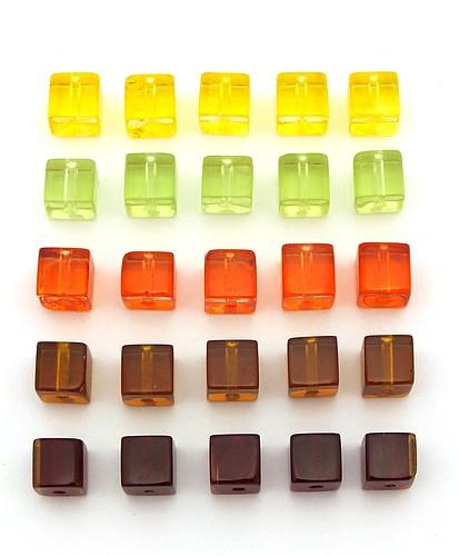 Glaswürfel-Mix warme Farben ca. 6mm