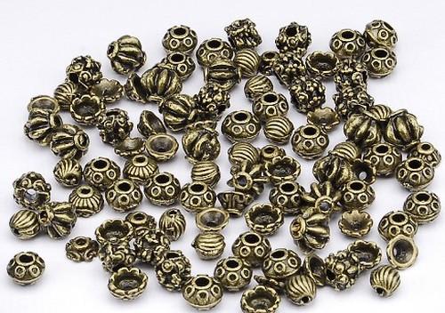 Metallperlen / Perlkappen Mix 96 Stück antikfarben