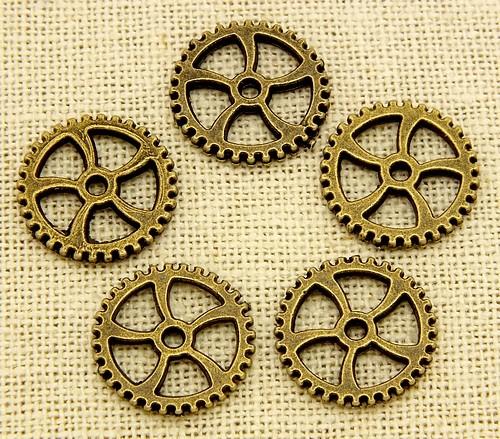 Steampunk Pinion ca. 18 x1,8mm antikfarben 5Stk
