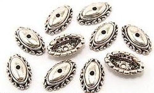 Münz-Perlkappen Oval klein ca. 15 x 9mm altsilberfarben 10Stk