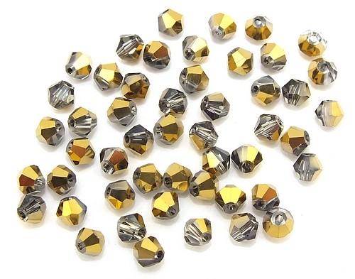 Bicone Glasschliffperlen ca. 4mm rauch-gold AB