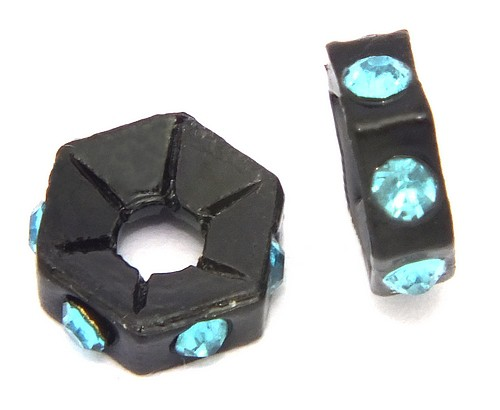 Strassrondelle black enamel aquamarin ca. 7,6 mm