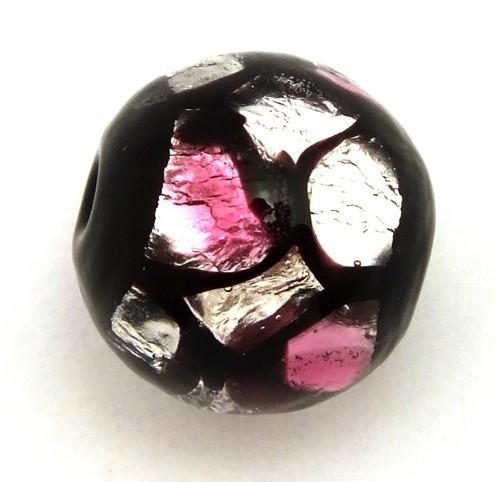 Silverfoilperle Dragonball mini ca. 12mm rosa-pink gepunktet 1Stk