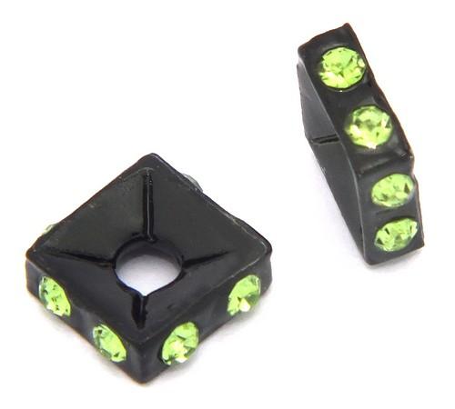 Strassquadrate black enamel grün ca. 7,6 mm 10Stk