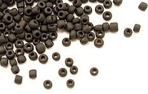 Rocailles M49 schwarz gefrostet ca. 3mm 25g