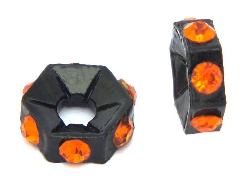 Strassrondelle black enamel orange ca. 7,6 mm