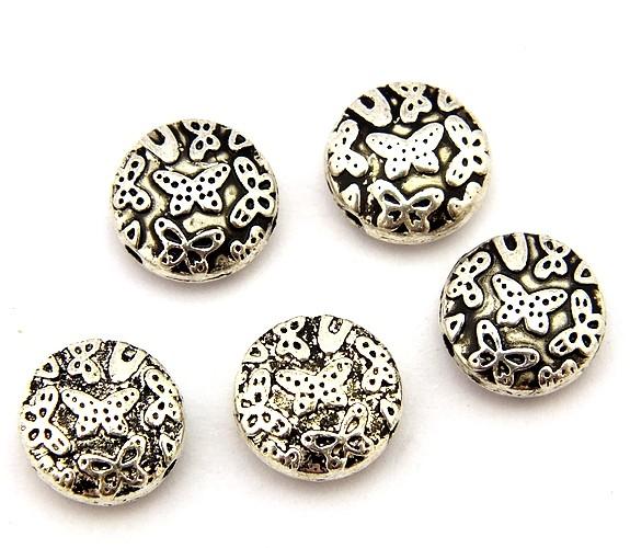 Metallperlen Butterfly-Münzen ca. 10 x 4,5mm altsilberfarben 5Stk