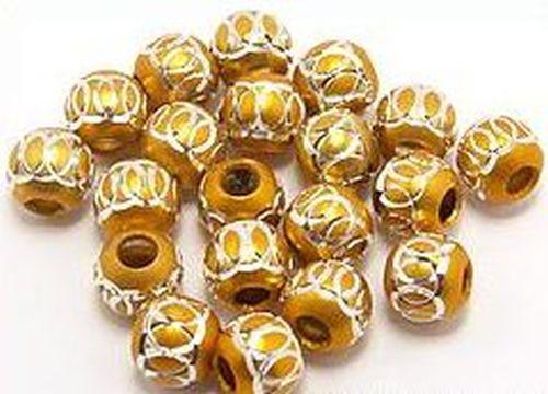 Alu-Perle rund ca. 6mm goldfarben 20Stk