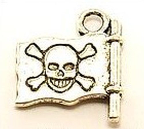 Metallanhänger Piratenflagge ca. 14x16mm silberfarben
