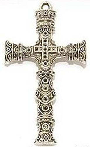 Metallanhänger Riesenkreuz ca. 100 x 57mm altsilbfarben 1Stk
