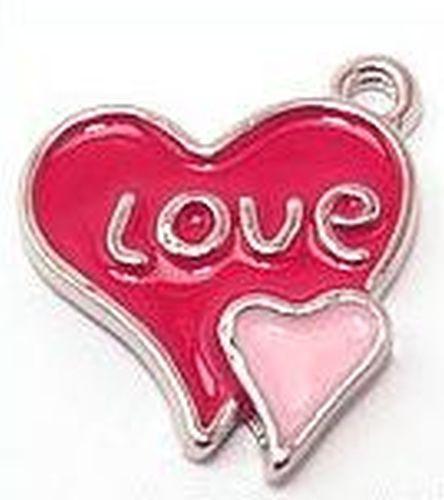 Metall-Anhänger Herz Love ca. 19 x 21mm emailliert 1Stk