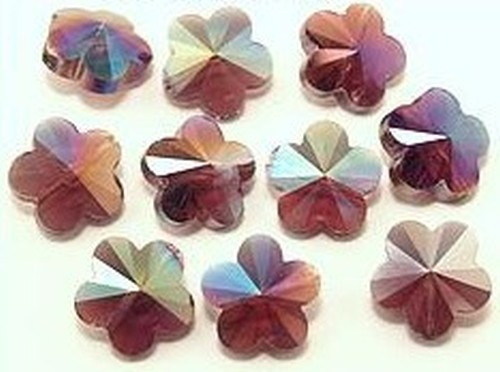 Blütenperlen ca. 14 x 14 x 8mm #28 lila AB 10Stk