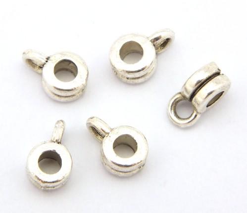 Mini-Metallösenperlen ca. 3 x 6mm silberfarben