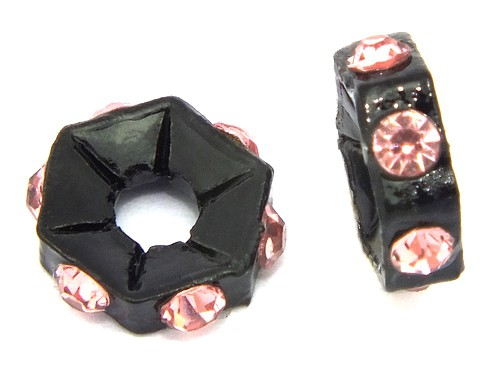 Strassrondelle black enamel light rose ca. 7,6 mm 10Stk