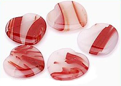 Sardonyx-Herzen weiß bis orangerot ca. 18mm 5Stk