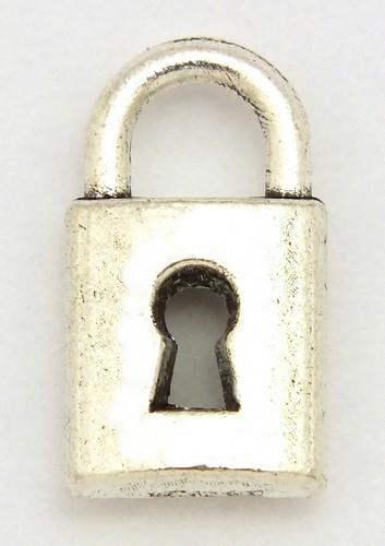 Metallanhänger Schloss ca. 7,6 x 14 mm altsilberfarben 1Stk